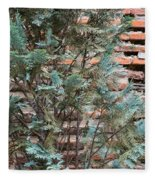 Green And Red - Cypress Branches Over Antique Roman Brick Wall Fleece Blanket