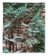 Green And Red - Slender Cypress Branches Over Rough Roman Brick Wall Fleece Blanket