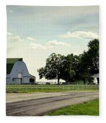 Green And White Farm Fleece Blanket