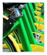 Green And Yellow Bicycles Fleece Blanket