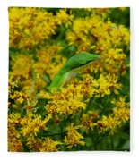 Green Anole Hiding In Golden Rod Fleece Blanket