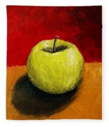 Green Apple With Red And Gold Fleece Blanket