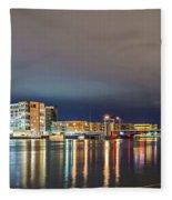 Green Bay Wisconsin City Skyline At Night Fleece Blanket