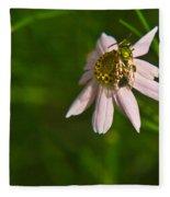 Green Bee Searches For Pollen Fleece Blanket