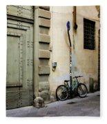 Green Bike And Door Fleece Blanket