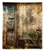Green Bike Crooked Door Fleece Blanket