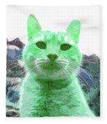 Green Cat Fleece Blanket