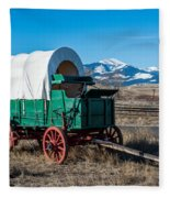 Green Covered Wagon Fleece Blanket