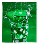 Green Dice Splash Fleece Blanket