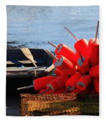 Green Dingy And Bouys Fleece Blanket