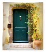 Green Door With Vine Fleece Blanket