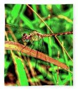 Green Dragonfly Fleece Blanket