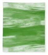Green Drift- Abstract Art By Linda Woods Fleece Blanket