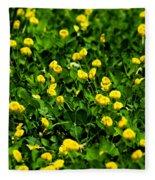 Green Field Of Yellow Flowers 4 Fleece Blanket