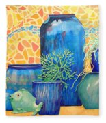 Green Fish And Friends Fleece Blanket