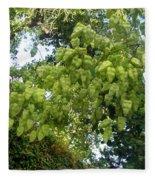 Green Fizalis Plant Fleece Blanket