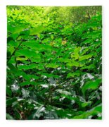 Green Foliage Fleece Blanket