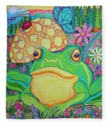 Green Frog With Flowers And Mushrooms Fleece Blanket
