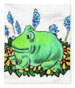 Green Happy Frog Fleece Blanket