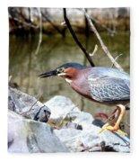 Green Heron . 7d614 Fleece Blanket