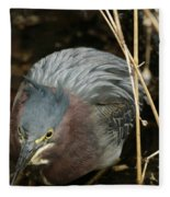 Green Heron Hunting Fleece Blanket