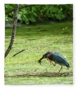 Green Heron Lunch Fleece Blanket