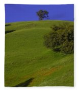 Green Hill With Poppies Fleece Blanket