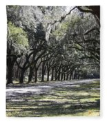 Green Lane With Live Oaks Fleece Blanket