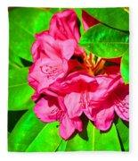Green Leafs Of Pink Fleece Blanket