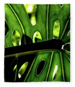 Green Leave With Holes Fleece Blanket