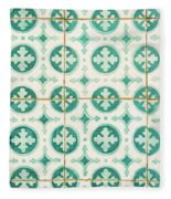 Green Lucky Charm Lisbon Tiles Fleece Blanket