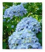 Green Nature Landscape Art Prints Blue Hydrangeas Flowers Fleece Blanket