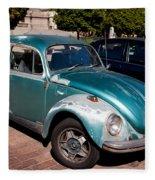 Green Old Vintage Volkswagen Car Fleece Blanket
