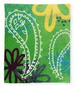 Green Paisley Garden Fleece Blanket by Linda Woods