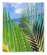 Green Palm Leaves Fleece Blanket