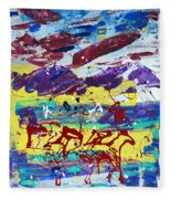Green Pastures And Purple Mountains Fleece Blanket