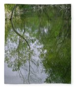 Green Peace - Trees Reflection Fleece Blanket