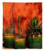 Green Pots Fleece Blanket