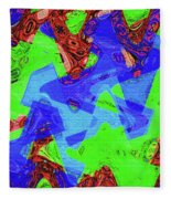 Green Red And Blue Melody Panel Abstract Fleece Blanket