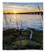 Green Rock Sunset Fleece Blanket
