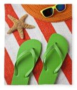 Green Sandals On Beach Towel Fleece Blanket
