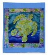 Green Sea Turtle Silk Painting Fleece Blanket