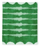 Green Shibori 3- Art By Linda Woods Fleece Blanket