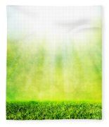 Green Spring Grass Against Natural Nature Blur Fleece Blanket