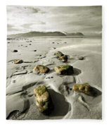 Green Stones On A North Wales Beach Fleece Blanket
