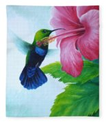 Green-throated Carib And Pink Hibiscus Fleece Blanket