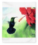 Green-throated Carib Hummingbird And Red Hibiscus Fleece Blanket