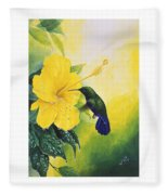Green-throated Carib Hummingbird And Yellow Hibiscus Fleece Blanket