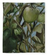Green Tomatoes On The Vine Fleece Blanket