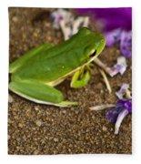 Green Tree Frog And Flowers Fleece Blanket